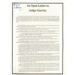 An open letter to Judge Garrity  - Digital Commonwealth