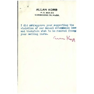 Allan Korb and Muriel Snowden letters.
