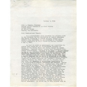 Letter to chairman of United States Commission on Civil Rights.