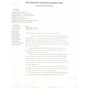 Letter to parents from the Assistant Principals Association.