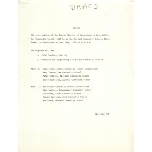 Meeting Minutes, Boston Chapter for Massachusetts Association for Community Schools, May 22, 1973.