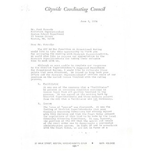 Citywide Coordinating Council letter to Paul Kennedy, June 7, 1976.