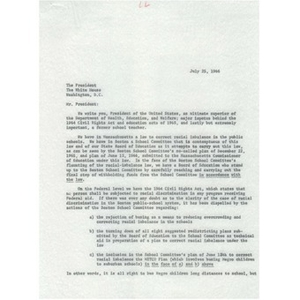 Letter to President Lyndon B. Johnson.