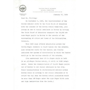 Letter to Dr. Leon Trilling from Joseph Lee.