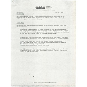 Memo, statements about elections at Rogers Middle School, July 16, 1975.