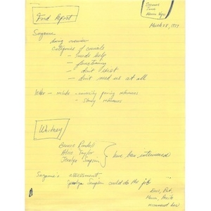 Meeting notes, March 28, 1977.