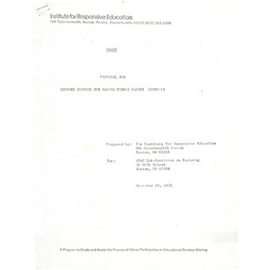 Draft proposal for support service for racial-ethnic parent councils, December 15, 1975.