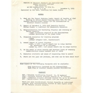 Citywide Coordinating Council training program and work plan, December 9, 1975.