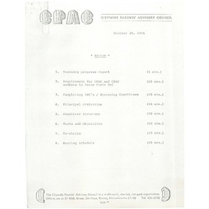 Citywide Parents' Advisory Council agenda and meeting minutes, October 20, 1976.