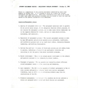Student assignment process preliminary problem statement, October 8, 1986.