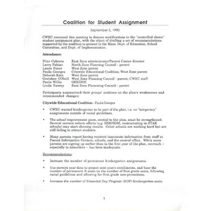 Coalition for student assignment.