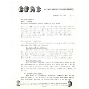 Memo, recommendations on committee work plans.