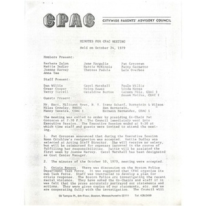 Minutes for CPAC meeting held on October 24, 1979.