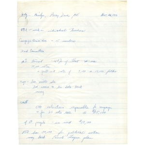 Meeting notes, Citywide Educational Coalition, November 26, 1973.