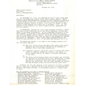 Letter, Boston City Council, October 29, 1973.