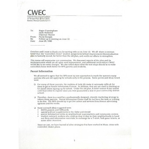 Letter, follow up to meeting on June 12.