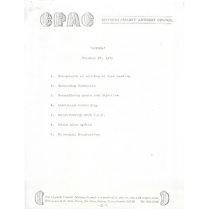 Citywide Parents' Advisory Council agenda and meeting minutes, October 27, 1976.