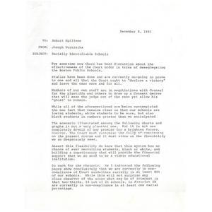 Letter, racially identifiable schools, December 8, 1981.