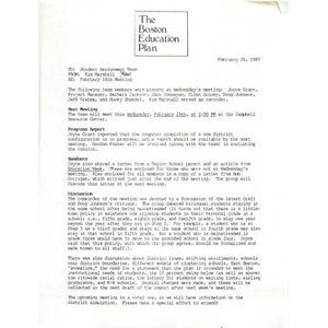 Letter, student assignment team, February 20, 1987.