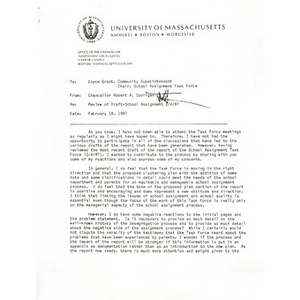 Letter, review of draft school assignment 2/4/87.
