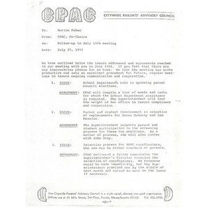 Memo, follow up to July 15th meeting.