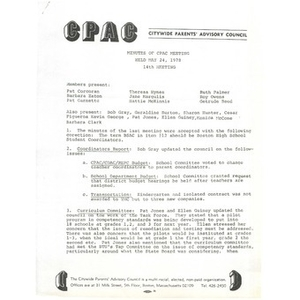 Citywide Parents' Advisory Council agenda and meeting minutes, May 24, 1978.