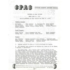 Minutes for CPAC meeting held on June 13, 1979.