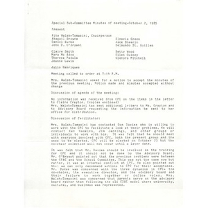 Special sub-committee minutes of meeting - October 2, 1985.