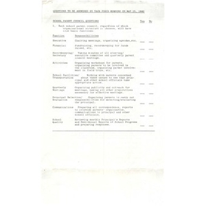 Questions to be answered by task force members by May 15, 1982.