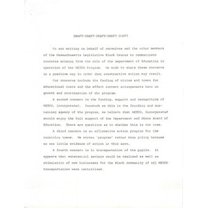 Draft letter of concern to Massachusetts Department of Education.