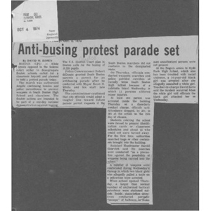 Anti-busing protest parade set.