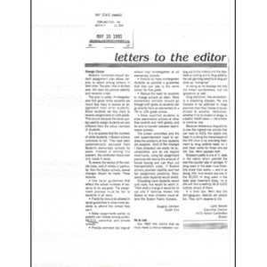Letters to the editor, May 16, 1991.