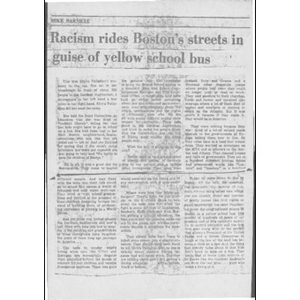 Racism rides Boston's streets in the guise of yellow school bus.