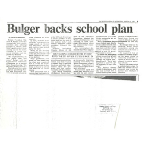 Bulger backs school plan.