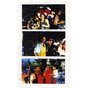 Scanned photographs of people during a National Night Out event.