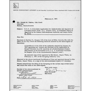E.T.C. & Associates application for authorization and approval of a project under Mass. G. L. chapter 121A, as amended; filing of approval by the Boston Redevelopment Authority and Mayor Kevin H. White.