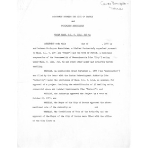 Agreement between the city of Boston and Borinquen Associates