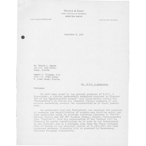 Letter to Donald A. Kaplan and Edward S. Truppman from Ropes & Gray.