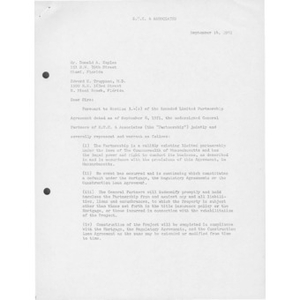 Letter to Donald A. Kaplan and Edward S. Truppman from Israel Feliciano and Stanley Sydney.