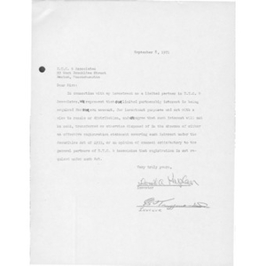 Letter to ETC & Associates from Donald A. Kaplan and Edward S. Truppman.