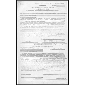 Application for insurance of advance of mortgage proceeds.