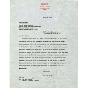 Letter to Dennis Torse from James M. Whalen.