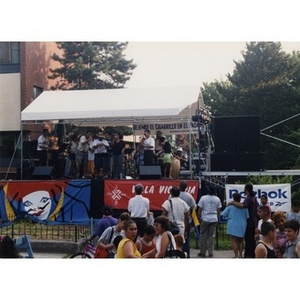 Band performing on the outdoor stage at Festival Betances.