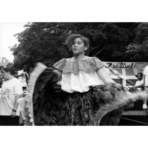 Young woman performing a folk dance at Festival Betances.