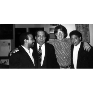 "Israel ""Cachao"" Lopez (second from left) and Alex Alvear (second from right) with two other unidentified musicians."