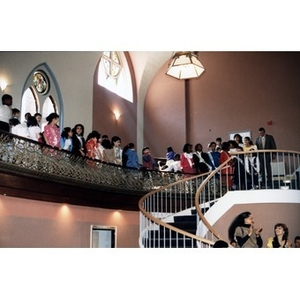 School children up in the balcony of the Jorge Hernandez Cultural Center.