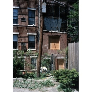 View of the back of 326 Shawmut Avenue during renovation work.