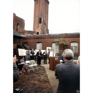 Boston Mayor Ray Flynn at the podium during the Taino Tower ground breaking ceremony.