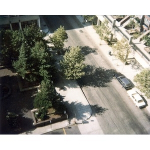 Bird's-eye view of a street corner in Villa Victoria.