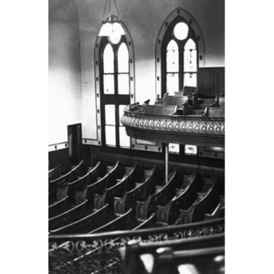 View from above of the pews in the All Saints Lutheran Church in Boston's South End.